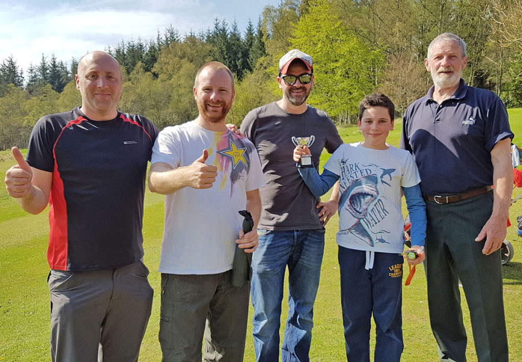 The winning team of Paul, Ian, Graeme and John (plus Sam the caddy).